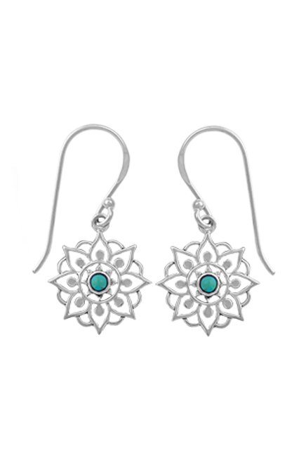 Sterling Silver Mandala Earring With Turquoise