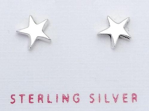 Sterling Silver Shiny Star Studs