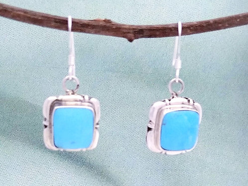 Navajo Sterling And Turquoise Square
