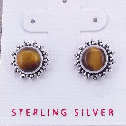 Sterling Silver Tiger Eye Studs