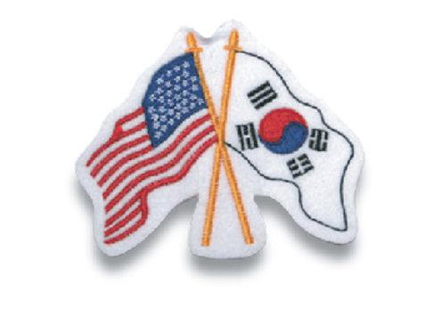 USA/Korea Flag Patch with Poles