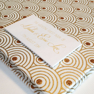 Gold and cream art deco wedding guest book