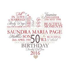Heart shaped 50th birthday wordart