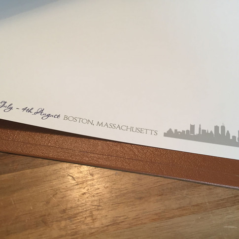 Bespoke printed internal pages with date, destination and skyline