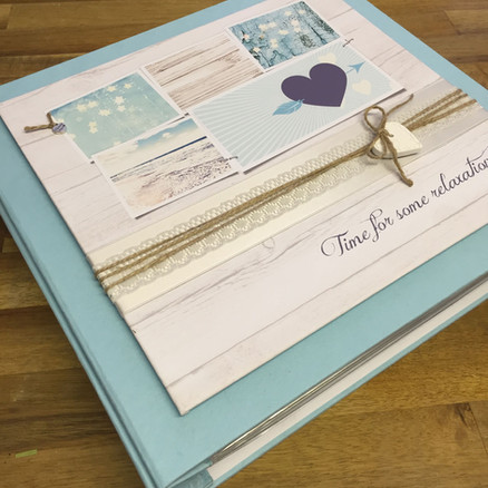 Blue book cloth album with printed panel