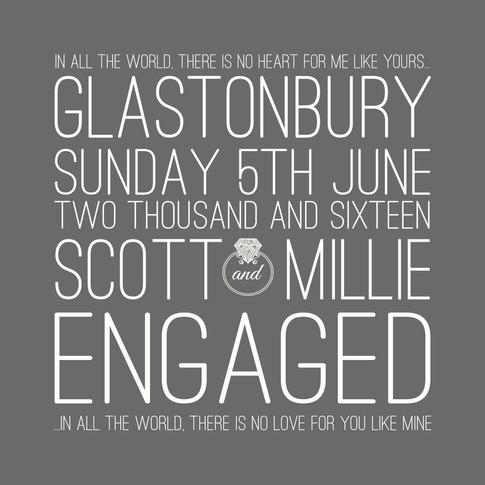 Personalised engagement wordart print