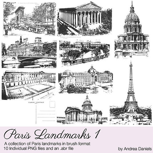 Digital scrapbooking brushes - Paris Landmarks 1 - Commercial License
