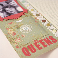 Close of title and pocket on handcrafted scrapbook page