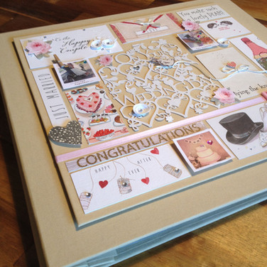 Pale gold book cloth wedding album with bespoke panel