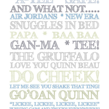 Personalised mum and son wordart print