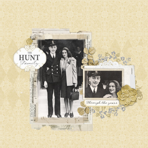 Vintage inspired digital scrapbooking cover page