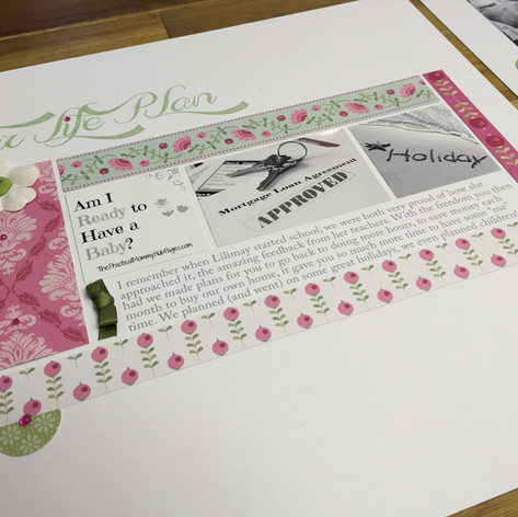 A clean and modern handcrafted scrapbook page