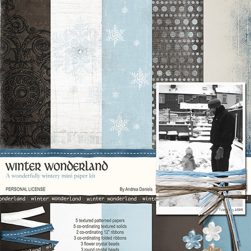 Digital Scrapbooking Mini Kit - WINTER WONDERLAND - Commercial License