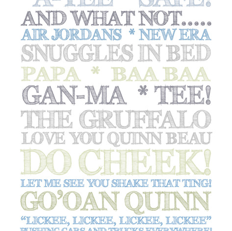 Mum and son personalised print