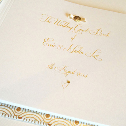 Bespoke printed title page of wedding guest book
