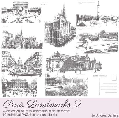 Paris Landmarks 2 digital brush set