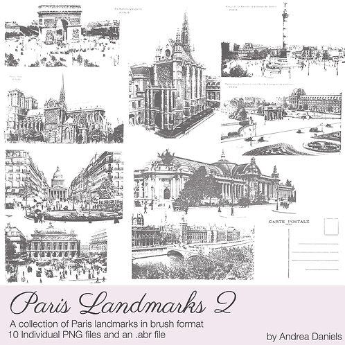 Digital scrapbooking brushes - Paris Landmarks 2 - Commercial License