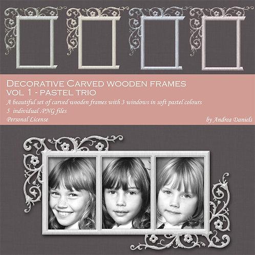 Decorative carved wooden frames Vol 1 (pastels) - COMMERCIAL License