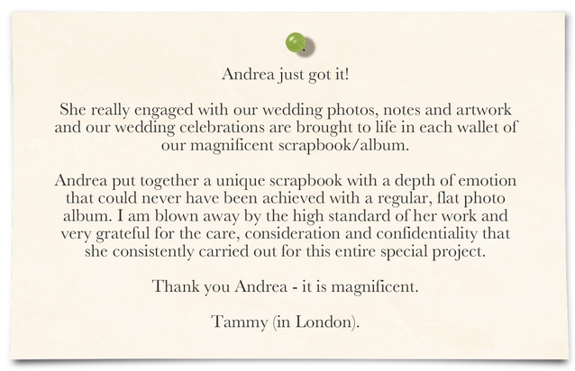Sydney wedding album testimonial