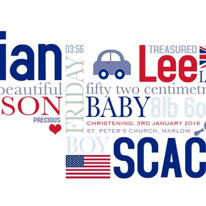 Personalised word art -newborn baby boy