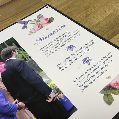 Custom wedding scrapbook page at The Scr