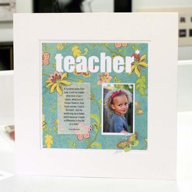 Handcrafted personalised teacher photoart