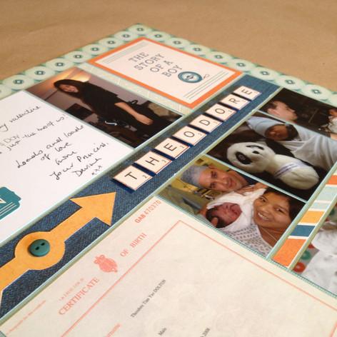 A newborn scrapbook page