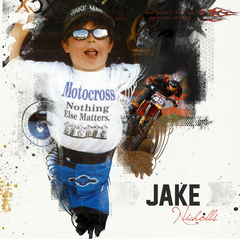 Edgy digital scrapbook cover from Jake Nicholl's career album