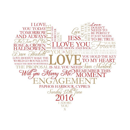 Personalised engagement heart wordart print