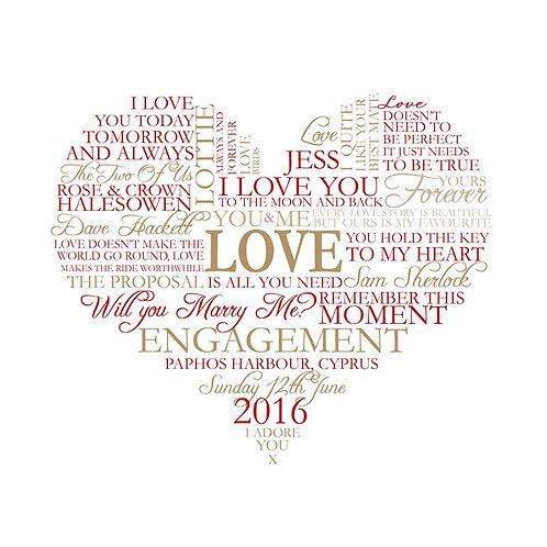 Engagement / Birthday Heart Wordart