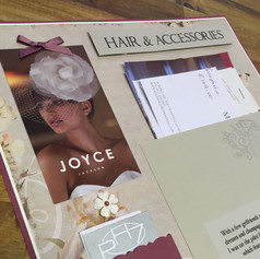 A pretty handcrafted scrapbook page from a wedding album highlights the preparation of the bride  - her hair and dress appointments.  A unique way to commemorate a special moment.