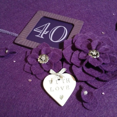 Purple felt album with handcrafted flowers