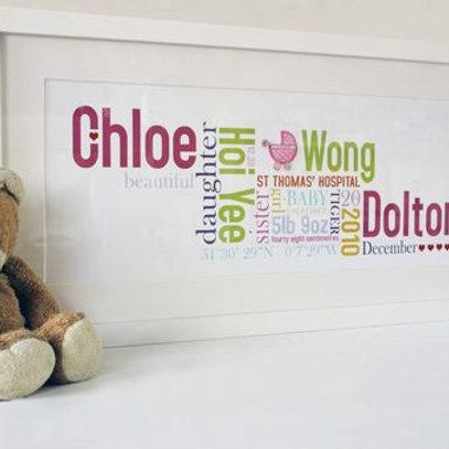 Personalised word art - newborn baby girl