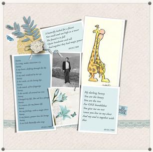 A digital scrapbook page from a wedding annviersary album