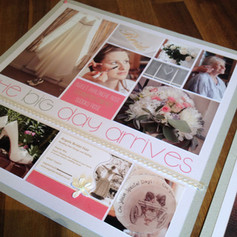 A handcrafted bridal page from a wedding album