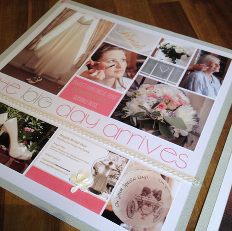 Custom made wedding day scrapbook pages at The Scrap