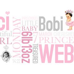 Personalised new baby wordart