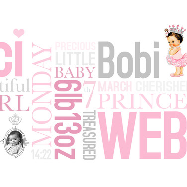 Personalised newborn baby girl wordart print