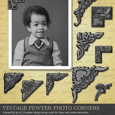 Digital embellishment: Vintage Pewter Corners