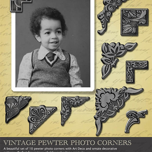 Digital Scrapbooking - Vintage Pewter photo corners - Personal License