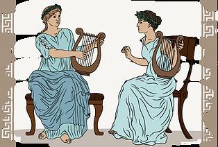 Dues dones gregues tocant l'arpa.