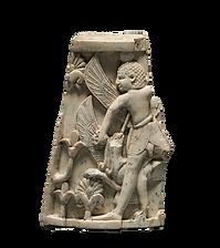 Placa decorativa mitològica d'un guerrer lluitant amb un grifó.