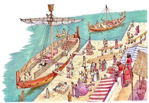 Il·lustració de fenicis comerciant en un port.