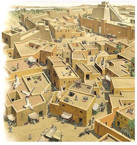 Il·lustració d'una ciutat sumèria amb el seu Ziggurat al fons.