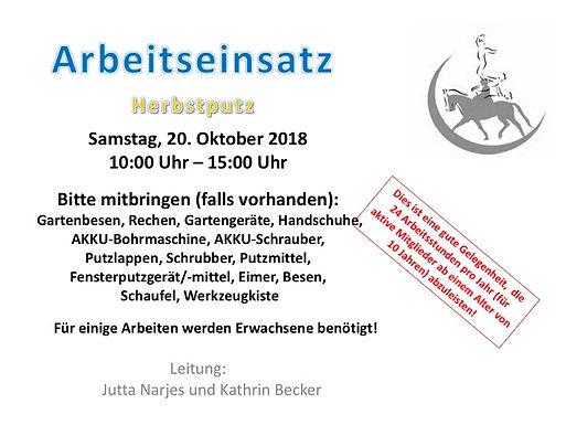 Arbeitseinsatz - am Samstag, 20. Oktober