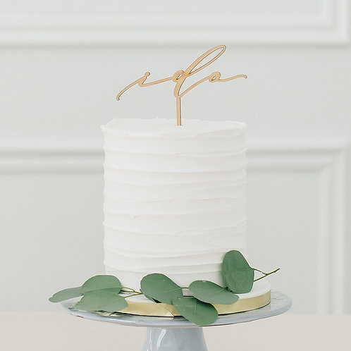 """I Do"" - Natural Wooden Cake Topper"