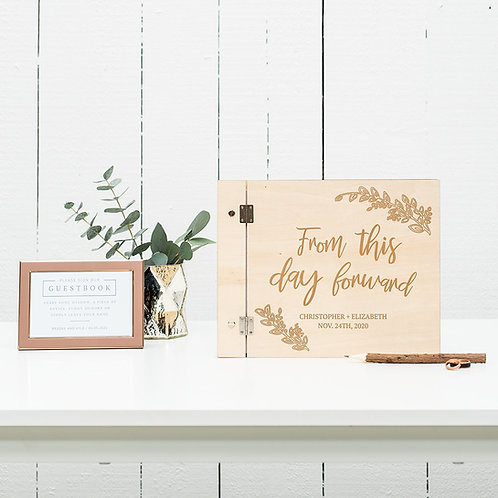 From this day Forward - Wooden Wedding Guest Book