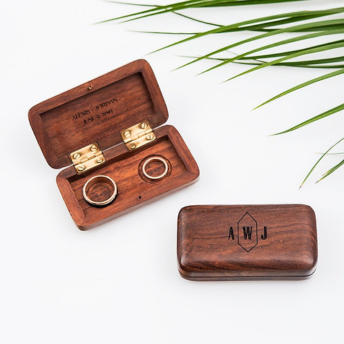 Geo Monogram - Wooden Wedding Ring Box