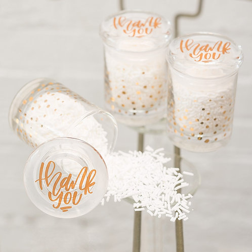 Gold Confetti Glass Jar - Set of 6