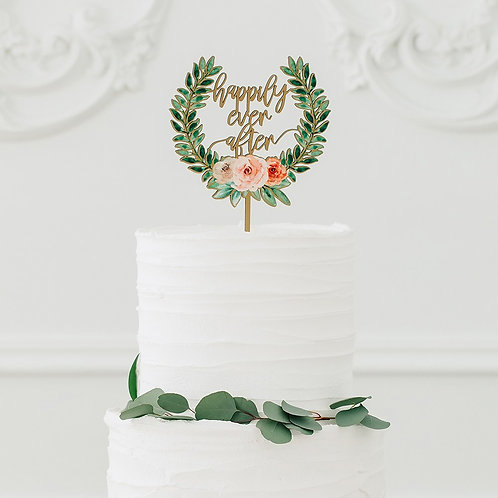 Floral Happily Ever After - Natural Wooden Cake Topper